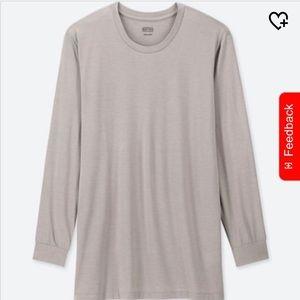 Uniqlo Mens Heattech Crewneck Shirt - Gray, size M